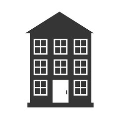 Real estate building in black and white colors, isolated flat icon.