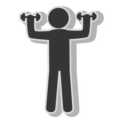 Male weights gym , isolated flat icon with black and white colors.
