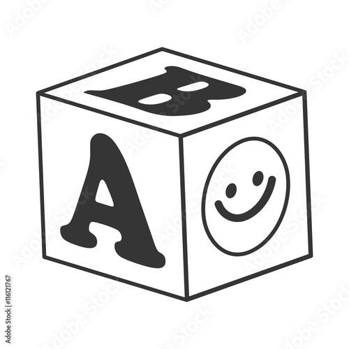 Black And White Abc Blocks : Quot abc blocks toy black and white isolated flat icon stock