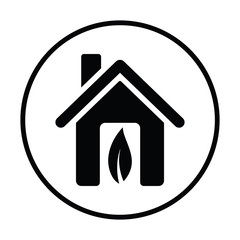 Ecological home with leaf icon