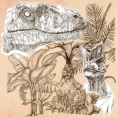 T-Rex and Velociraptor. DINOSAURS - Life in the prehistoric time. Freehand sketching, line drawing. Hand drawn vector illustration. Colored background is isolated. Line art technique. Editable vector.