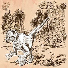 Velociraptor. DINOSAURS - Life in the prehistoric time. Freehand sketching, line drawing. An hand drawn vector illustration. Colored background is isolated. Line art technique. Vector is easy editable