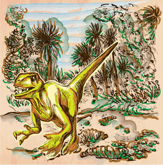 Velociraptor. DINOSAURS - Life in the prehistoric time. Freehand sketching, line drawing. An hand drawn vector illustration. Colored background is isolated. Colored line art. Vector is easy editable.