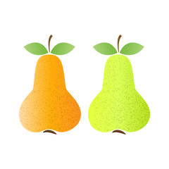 Yellow ripe and unripe pears