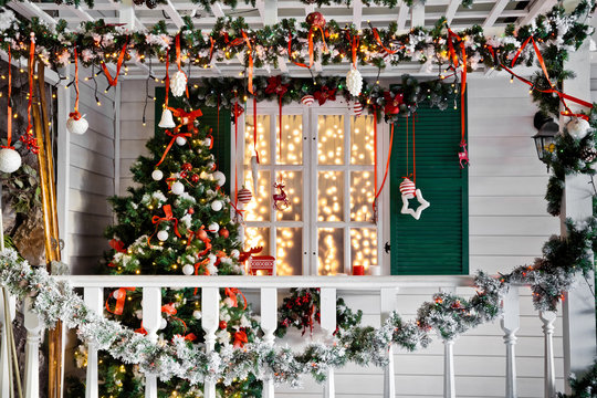 Christmas decorated porch