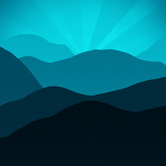 Teal Blue Mountain Layers Sunrise Sunset