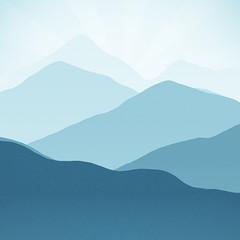 Light Blue Mountain Layers Sunrise Sunset