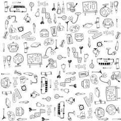 Education tools doodles vector
