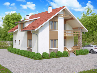 3d rendering of private suburban, two-story house in a modern st