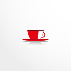 A cup and saucer. Vector icon.