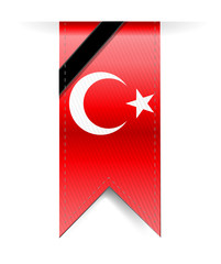 turkish flag hanging banner and black ribbon