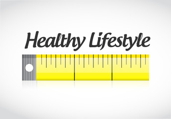 healthy lifestyle measuring tape concept