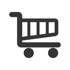 Shopping cart ,isolated black and white flat icon design