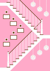 Vector illustration with hallway stairs in flat style