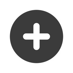 Cross positive circle, isolated flat icon design