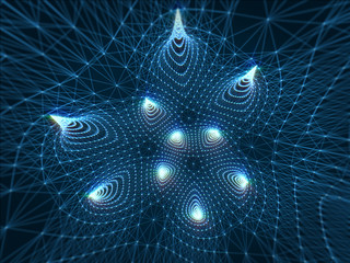 Geometric abstract with connecting dots and lines in dark background.3d rendering