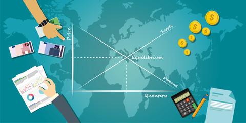 market equilibrium economy balance concept economic theory chart illustration