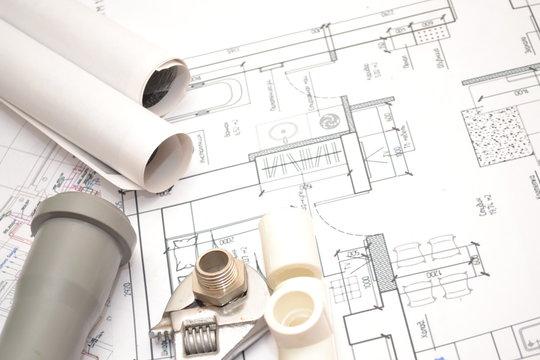 Сантехнический план подключения водоснабжения отопления и канализации.