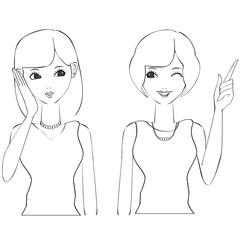 2人で会話する笑顔の美人女性 上半身 線画