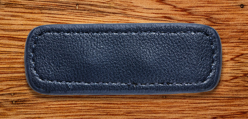 Blue blank leather label
