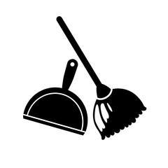 Broom and dustpan icon