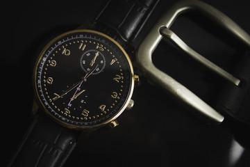 watch strap in black background