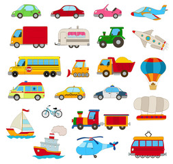 set of cartoon cars, vehicles, other transportation on white