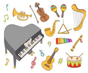 cartoon musical instruments set.