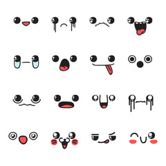 Set of 16 different pieces doddle emotions to create characters. Emotions for design. Anime. Anger and joy. Surprised and hurt. Indifference and shock. Laughter and tears.