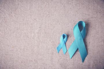 Teal Ribbons copy space toning background, Ovarian Cancer, cervi