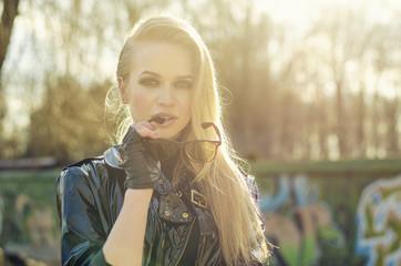 portrait of sexy blonde woman, stylish  sunglasses, long hairs