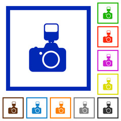 Camera with flash framed flat icons