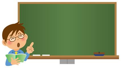 黒板の前で指を指している男性教師のイメージイラスト