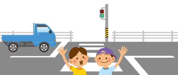 手を挙げて横断歩道を渡る小学生と軽トラックのイメージイラスト