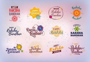 Happy Raksha Bandhan emblems set.