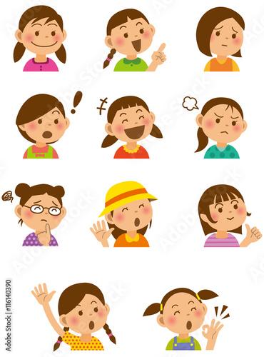 小学生の表情イラストセット女の子 Stock Image And Royalty Free