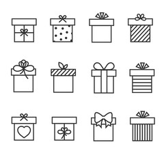 Gift boxes thin line vector icons. Box for gift and present gift box in linear style