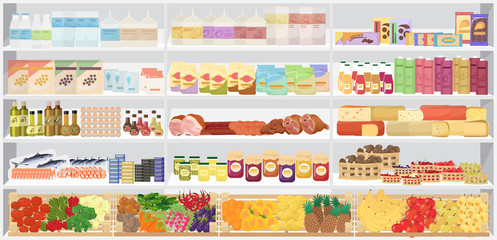 Store supermarket shelves shelfs with products. Vector illustration.