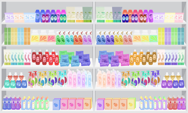 Store supermarket shelves shelfs with household chemicals.