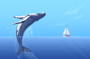 Jump humpback big huge whale near small boat ship yacht. Hidden ocean power.