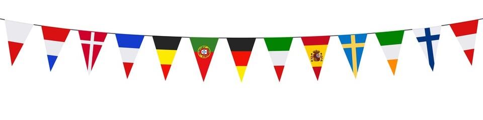 Banner, garland, pennants, European countries