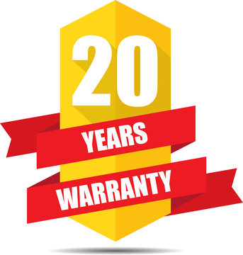 20 Year Warranty Promotional Sale Yellow Sign, Seal Graphic With Red Ribbons. A Specified Period Of Time.