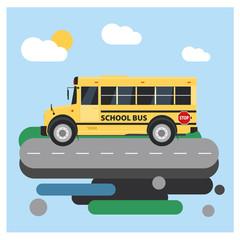 Yellow school bus. Flat style vector illustration.