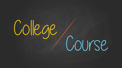 college or versus course compare write on the blackboard with chalk effect vector graphic