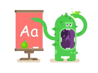 Cartoon monster teaches alphabet