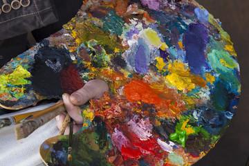 artist palette in hand