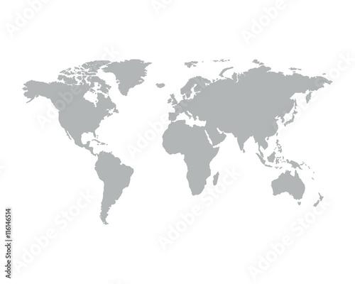 Wall mural Gray similar world map.