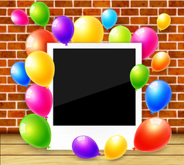 Photo frame with colorful balloons vector background