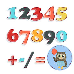 Set of stitched numbers - vector illustration