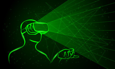 Man wearing virtual reality goggles. Green neon high-tech illustration on a black background.